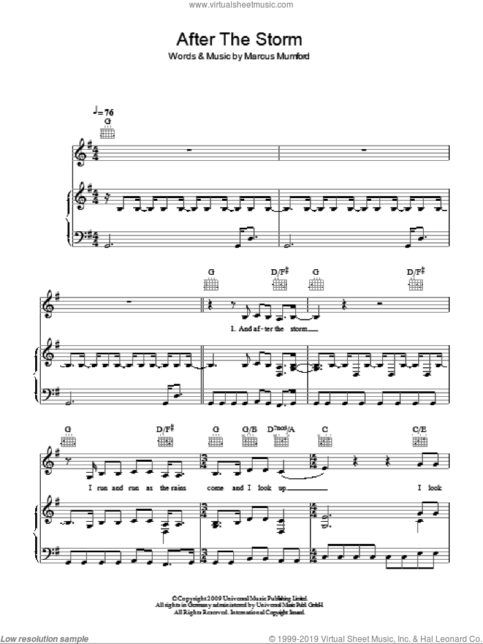 After The Storm sheet music for voice, piano or guitar by Marcus Mumford