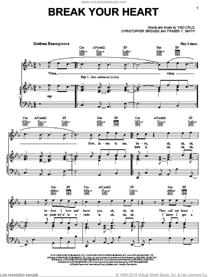 Break Your Heart sheet music for voice, piano or guitar by Fraser T. Smith, Ludacris, Christopher Bridges and Taio Cruz. Score Image Preview.