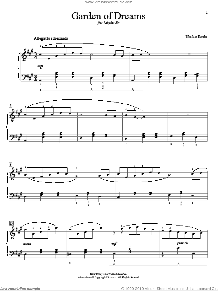 Garden Of Dreams sheet music for piano solo (elementary) by Naoko Ikeda, beginner piano (elementary)