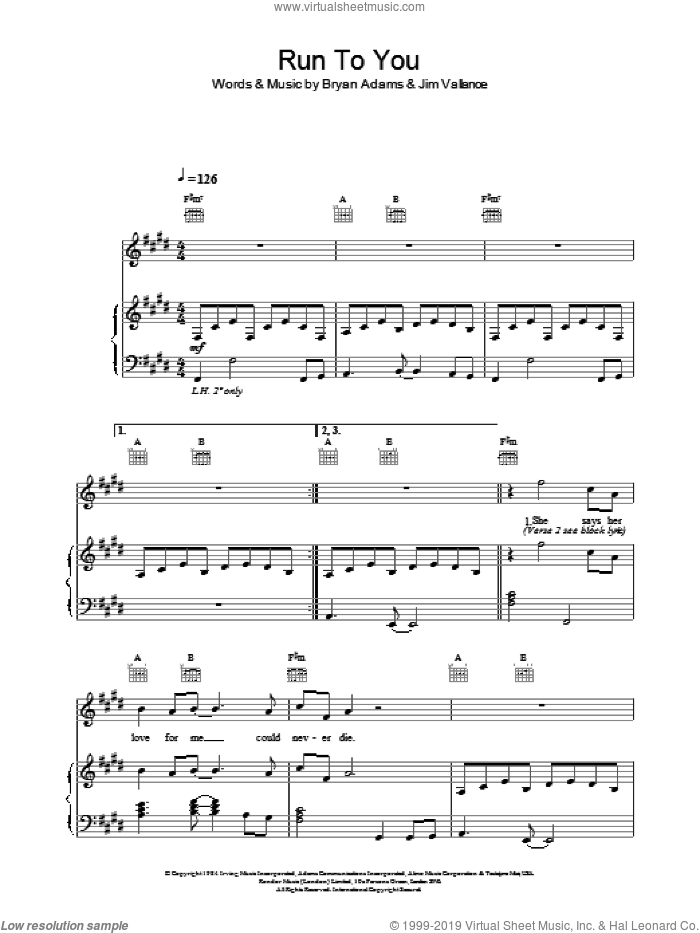 Run To You sheet music for voice, piano or guitar by Bryan Adams. Score Image Preview.