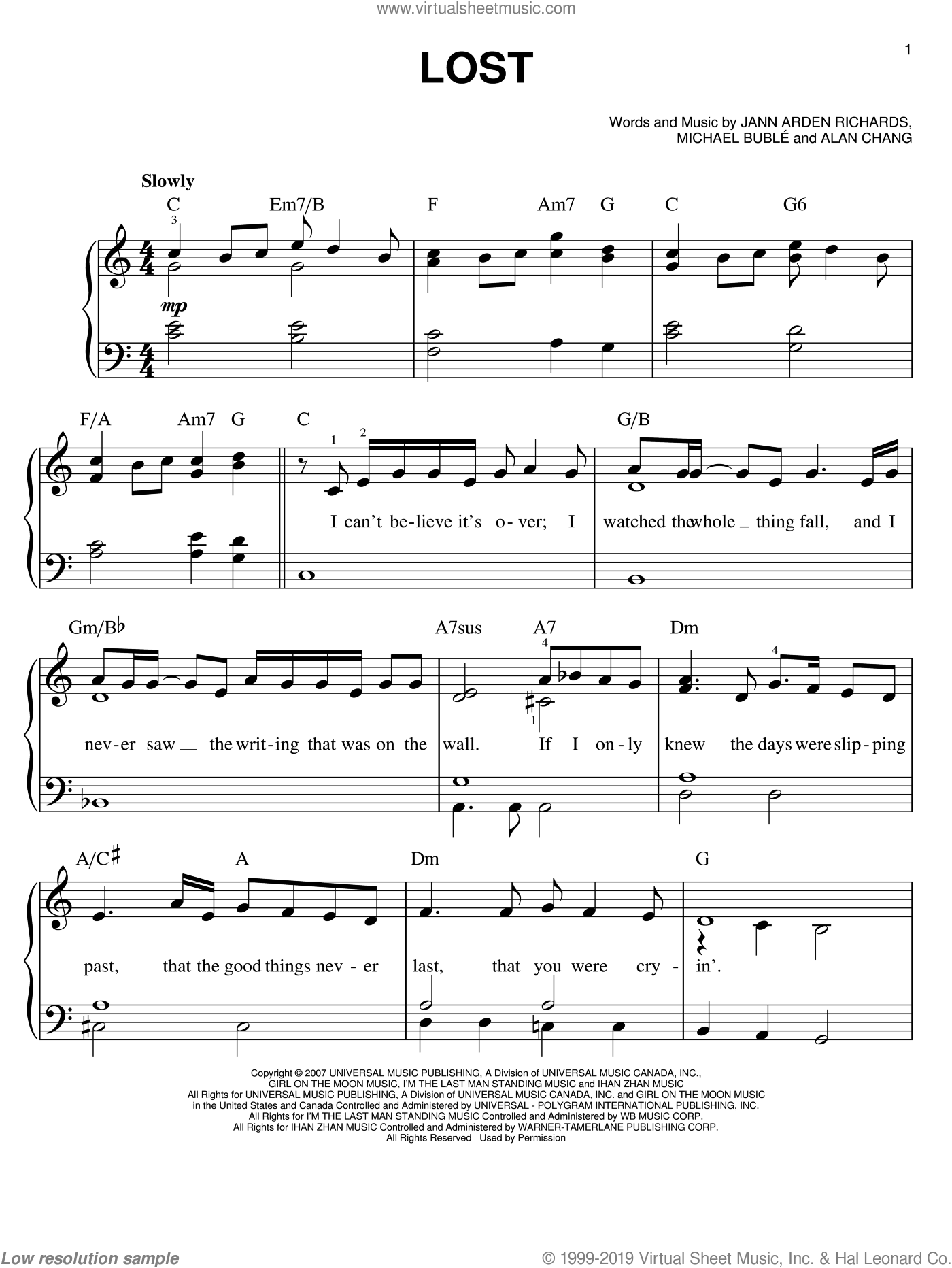 Lost sheet music for piano solo by Michael Buble, Alan Chang and Jann Arden Richards, easy skill level