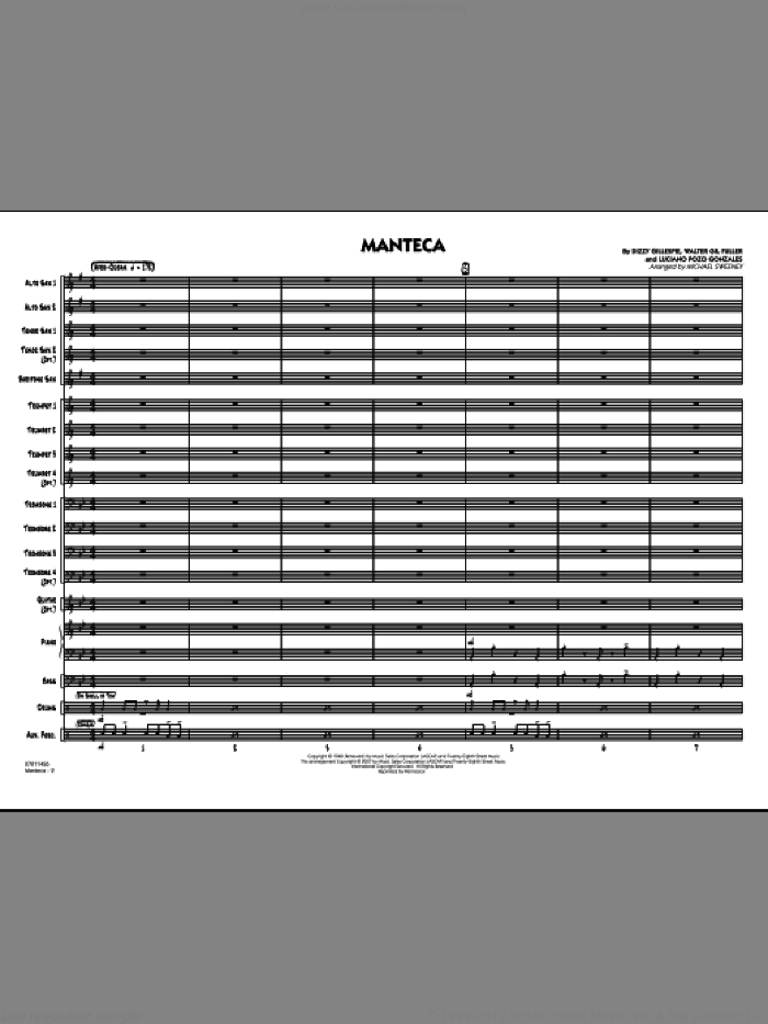 Manteca (COMPLETE) sheet music for jazz band by Dizzy Gillespie, Walter Gil Fuller and Michael Sweeney, intermediate. Score Image Preview.
