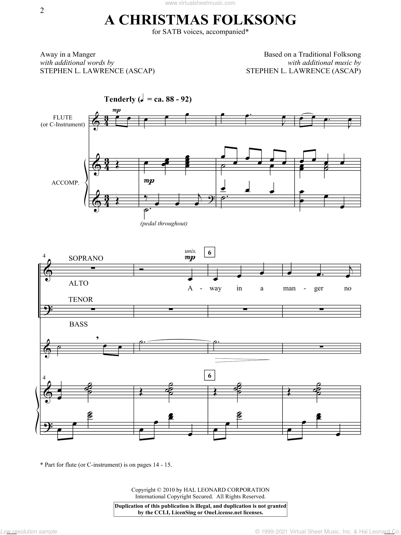 A Christmas Folksong sheet music for choir (SATB) by Stephen Lawrence. Score Image Preview.