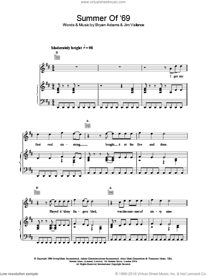 Summer Of '69 sheet music for voice, piano or guitar by Bryan Adams and Jim Vallance. Score Image Preview.