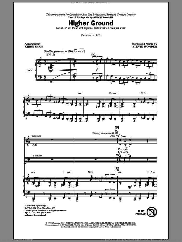 Higher Ground sheet music for choir (SAB: soprano, alto, bass) by Stevie Wonder and Kirby Shaw, intermediate skill level