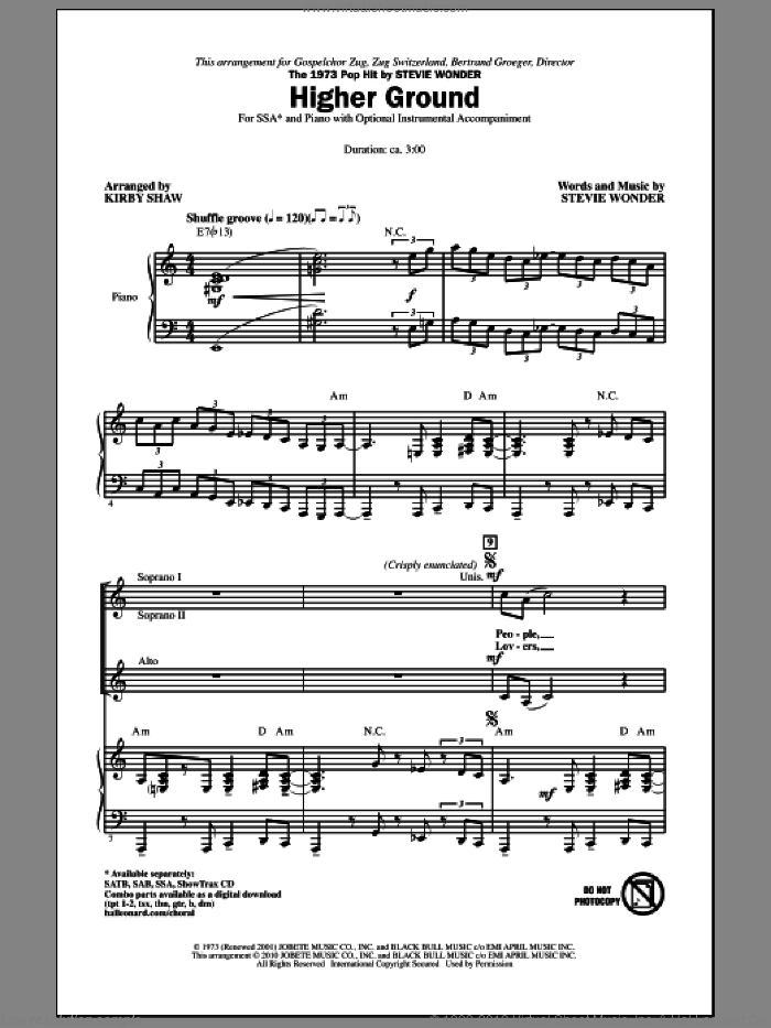 Higher Ground sheet music for choir (SSA: soprano, alto) by Stevie Wonder and Kirby Shaw, intermediate skill level