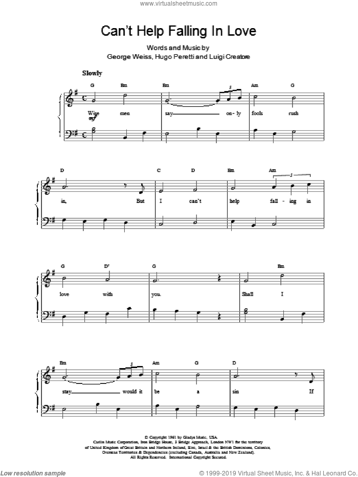 Can't Help Falling sheet music for voice, piano or guitar by UB40 and George David Weiss, intermediate skill level