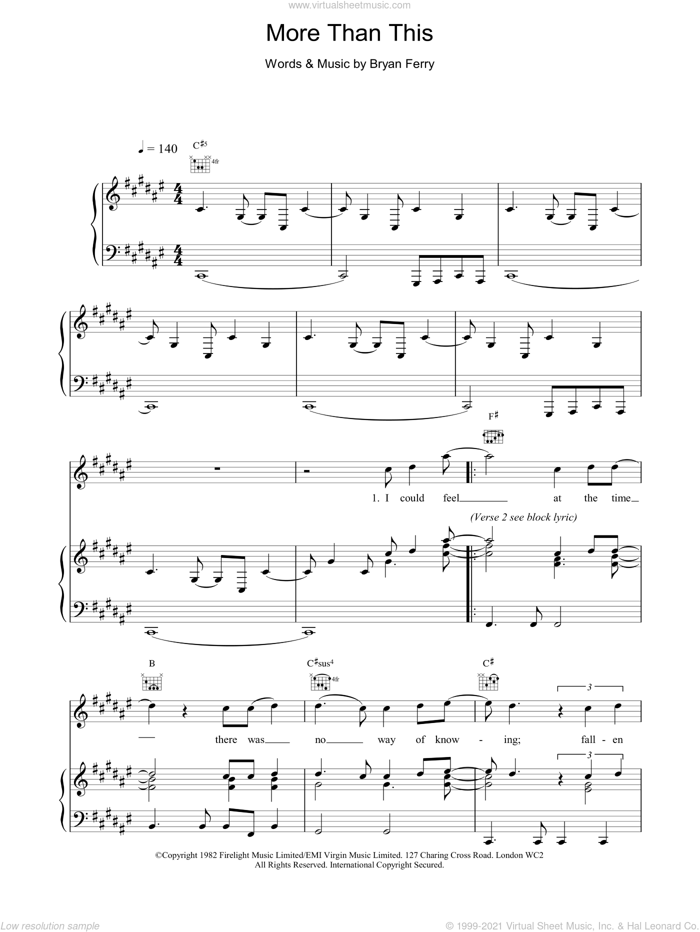 More Than This sheet music for voice, piano or guitar by Bryan Ferry and Roxy Music. Score Image Preview.