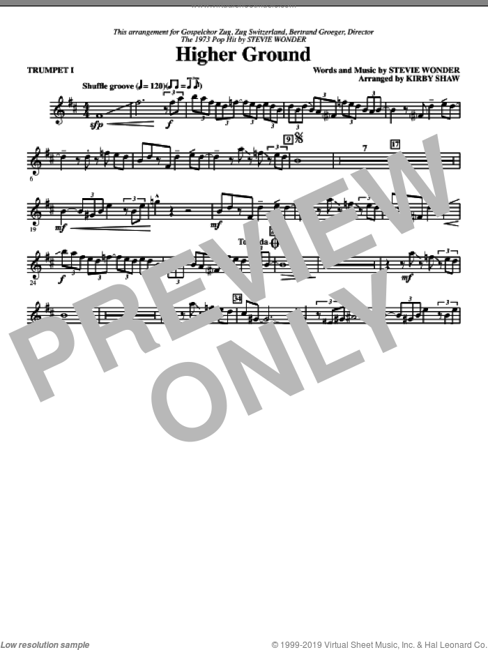 Higher Ground (complete set of parts) sheet music for orchestra/band by Stevie Wonder and Kirby Shaw, intermediate skill level