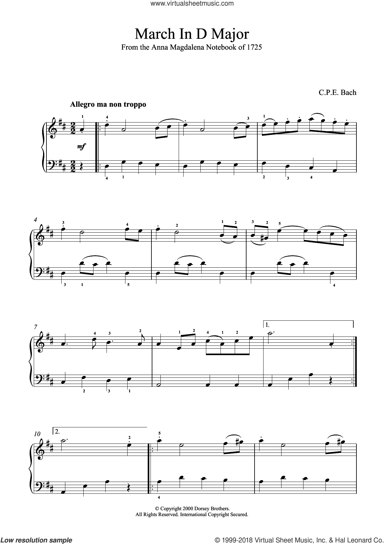 March In D Major, BWV App. 122 sheet music for piano solo by Johann Sebastian Bach and Carl Philip Emanuel Bach, classical score, intermediate