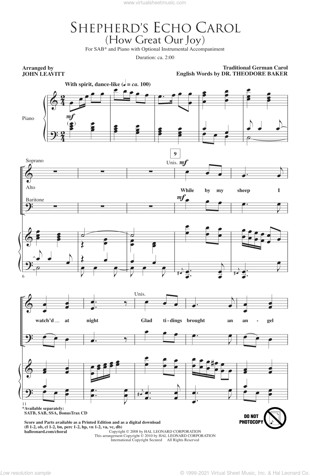 Shepherd's Echo Carol (How Great Our Joy) sheet music for choir and piano (SAB) by John Leavitt. Score Image Preview.