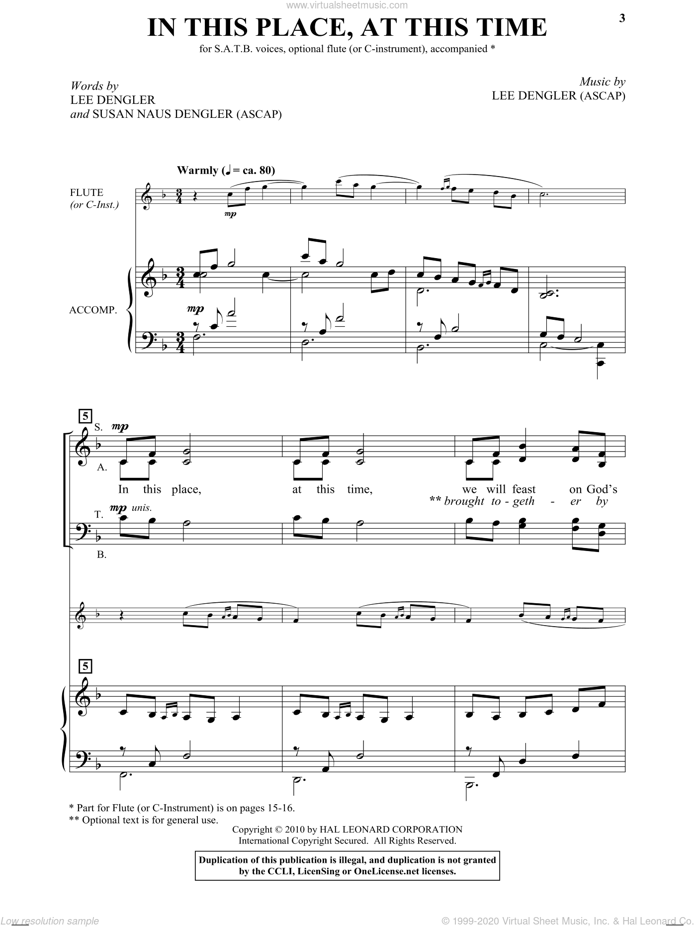 In This Place, At This Time sheet music for choir and piano (SATB) by Susan Dengler and Lee Dengler. Score Image Preview.