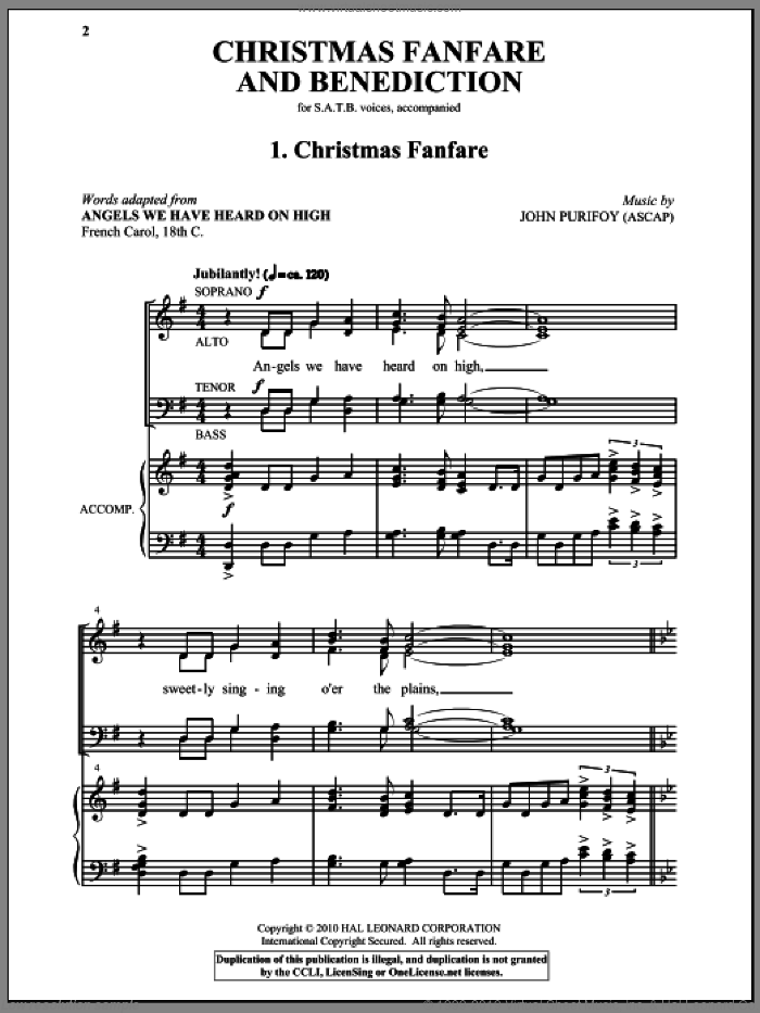 Christmas Fanfare And Benediction sheet music for choir (SATB: soprano, alto, tenor, bass) by John Purifoy, intermediate skill level