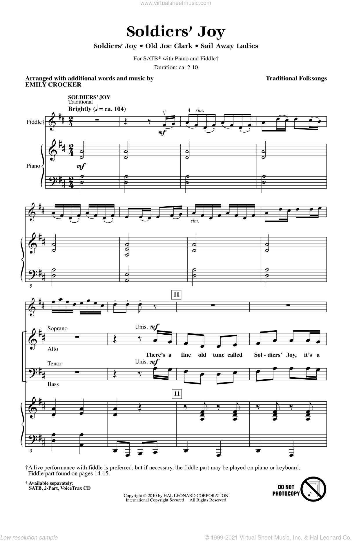 Soldiers' Joy sheet music for choir and piano (SATB) by Emily Crocker. Score Image Preview.