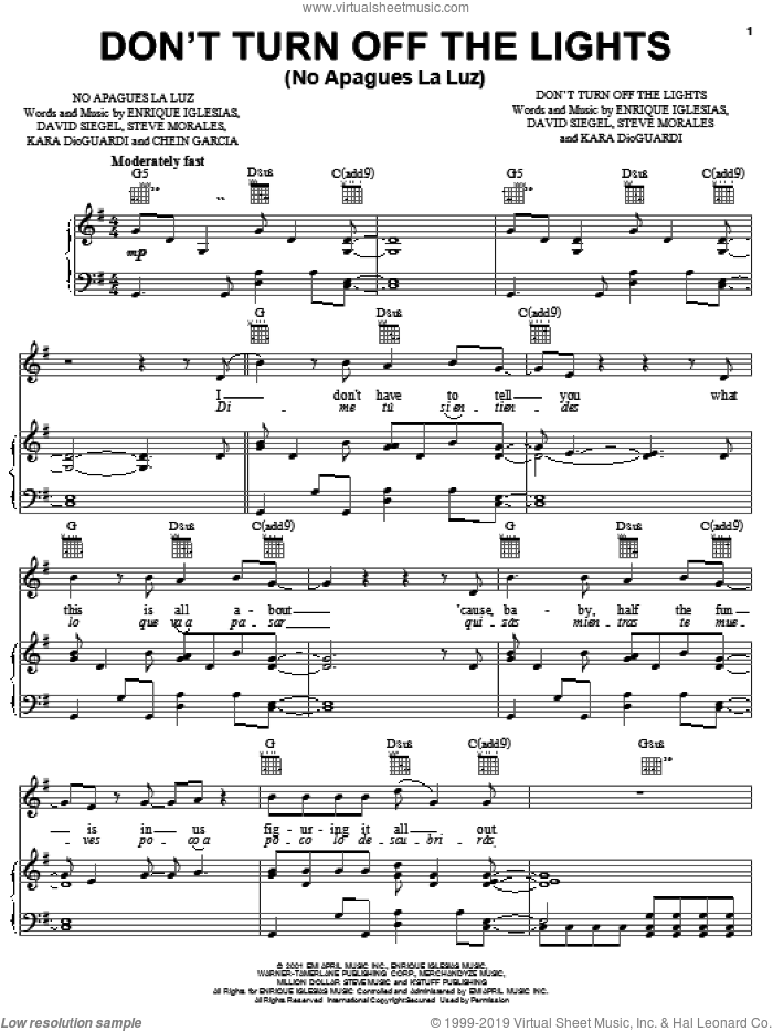 Don't Turn Off The Lights sheet music for voice, piano or guitar by Enrique Iglesias, Kara DioGuardi and David Siegel, intermediate skill level