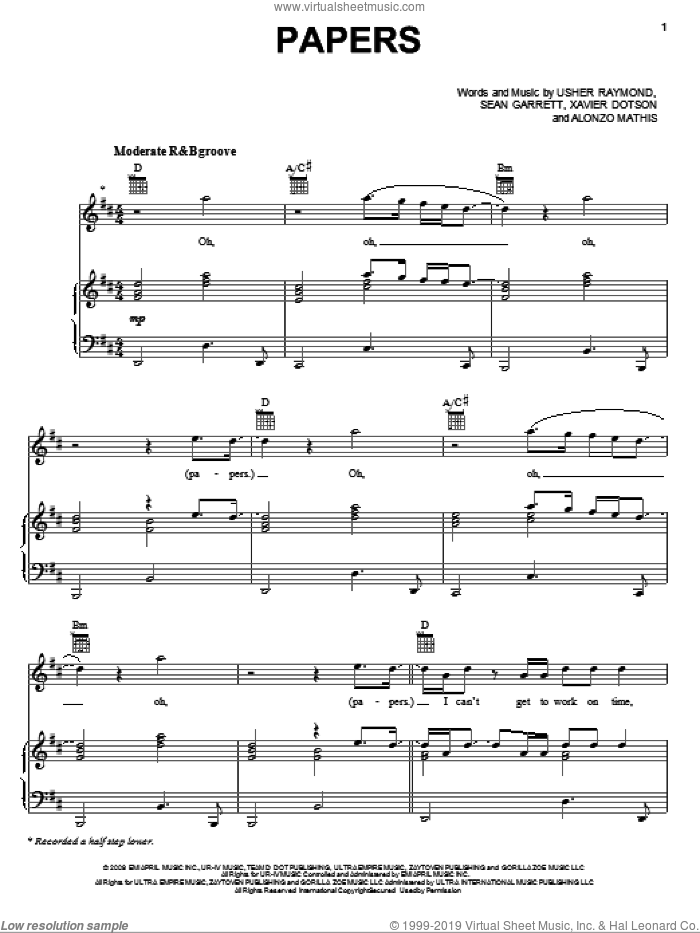 Papers sheet music for voice, piano or guitar by Gary Usher, Alonzo Mathis, Sean Garrett, Usher Raymond and Xavier Dotson, intermediate skill level