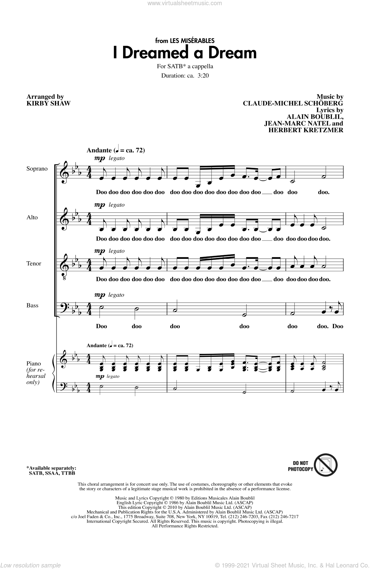 I Dreamed A Dream sheet music for choir (SATB: soprano, alto, tenor, bass) by Alain Boublil, Claude-Michel Schonberg, Herbert Kretzmer, Jean-Marc Natel and Kirby Shaw, intermediate skill level