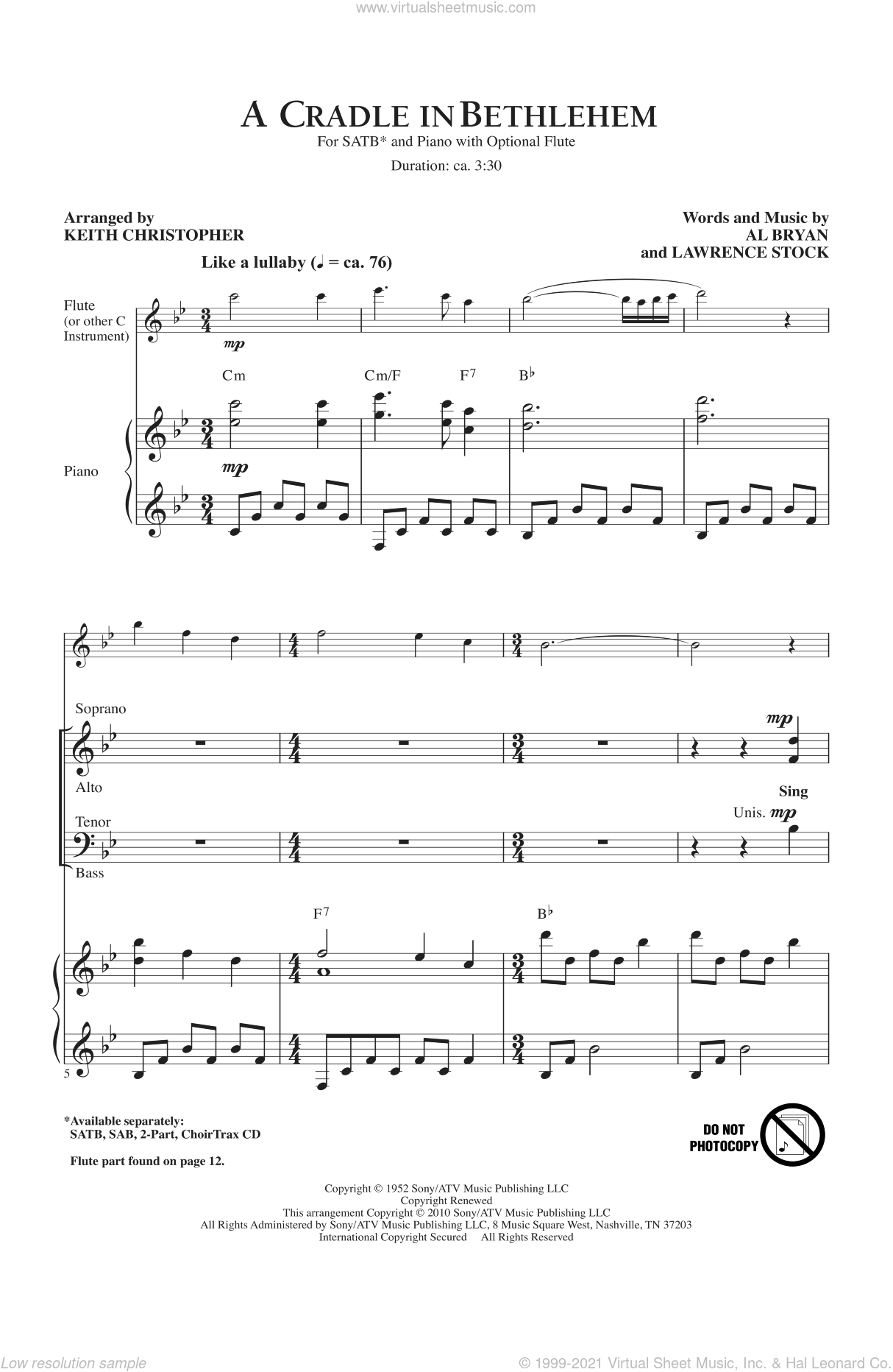 A Cradle In Bethlehem sheet music for choir (SATB: soprano, alto, tenor, bass) by Alfred Bryan, Keith Christopher, Nat King Cole and Vince Gill, intermediate