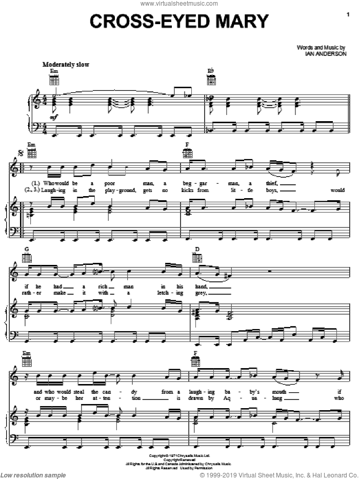 Cross-Eyed Mary sheet music for voice, piano or guitar by Jethro Tull and Ian Anderson, intermediate skill level
