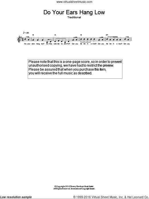 Do Your Ears Hang Low? sheet music for voice and other instruments (fake book). Score Image Preview.