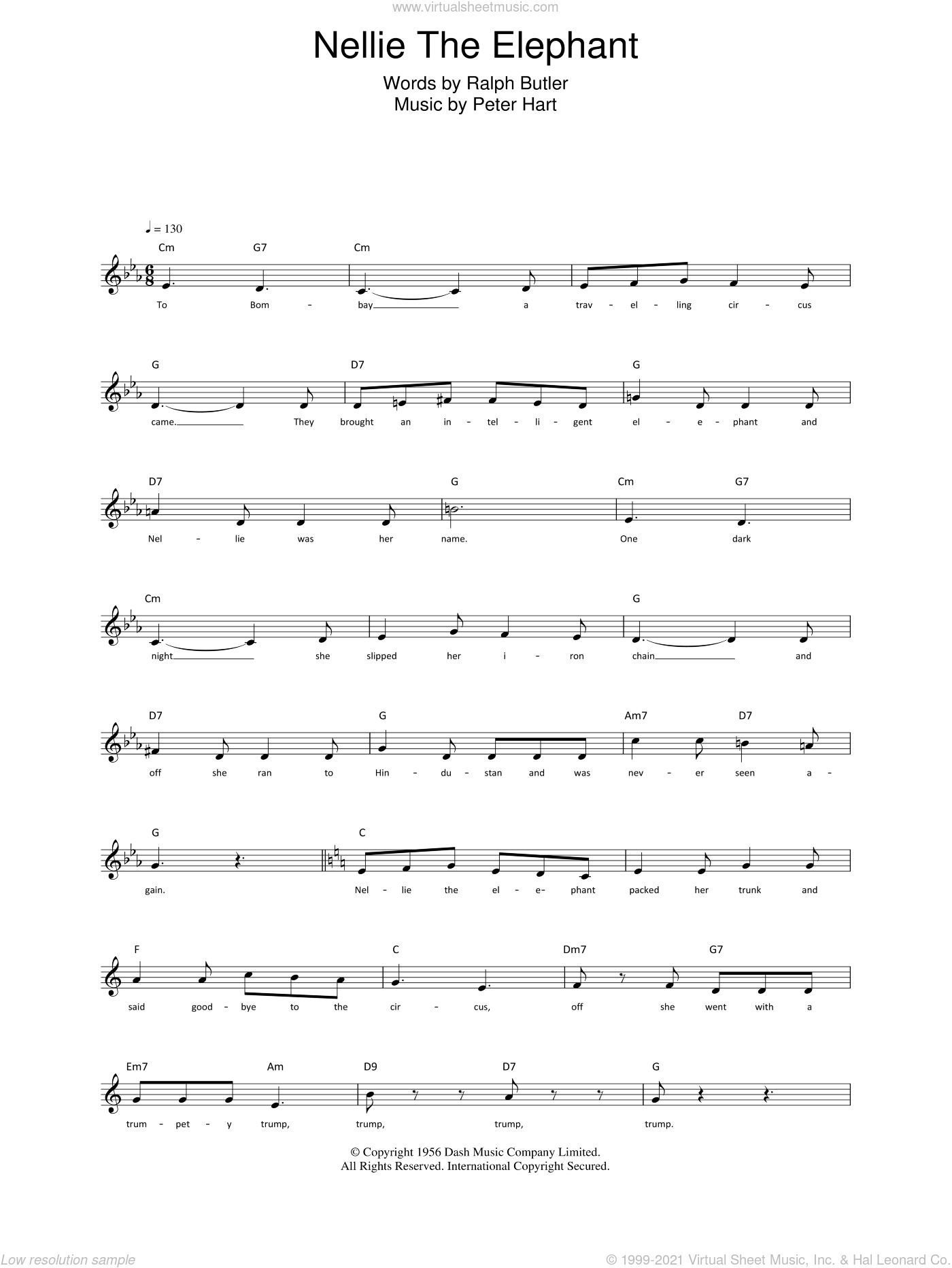 Nellie The Elephant sheet music for voice and other instruments (fake book) by Ralph Butler and Peter Hart, intermediate skill level