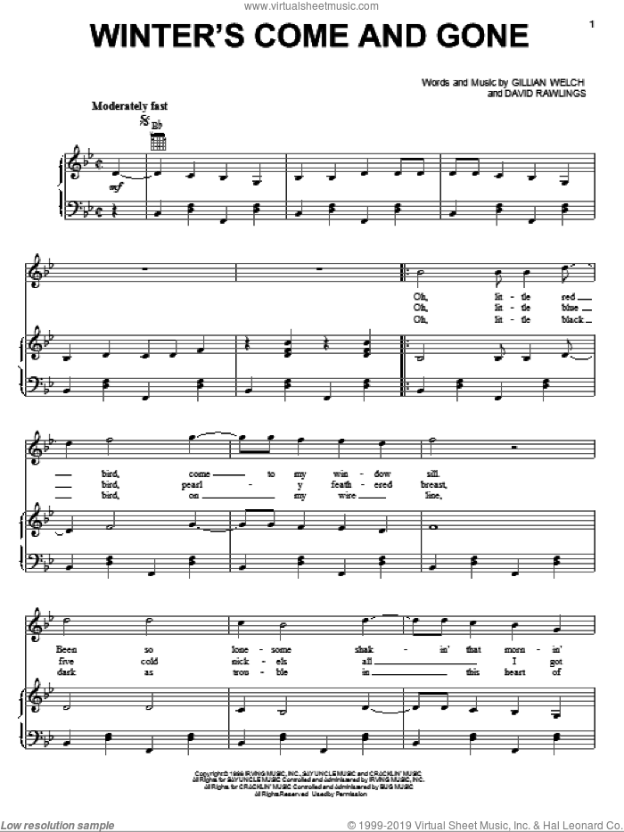 Winter's Come And Gone sheet music for voice, piano or guitar by David Rawlings