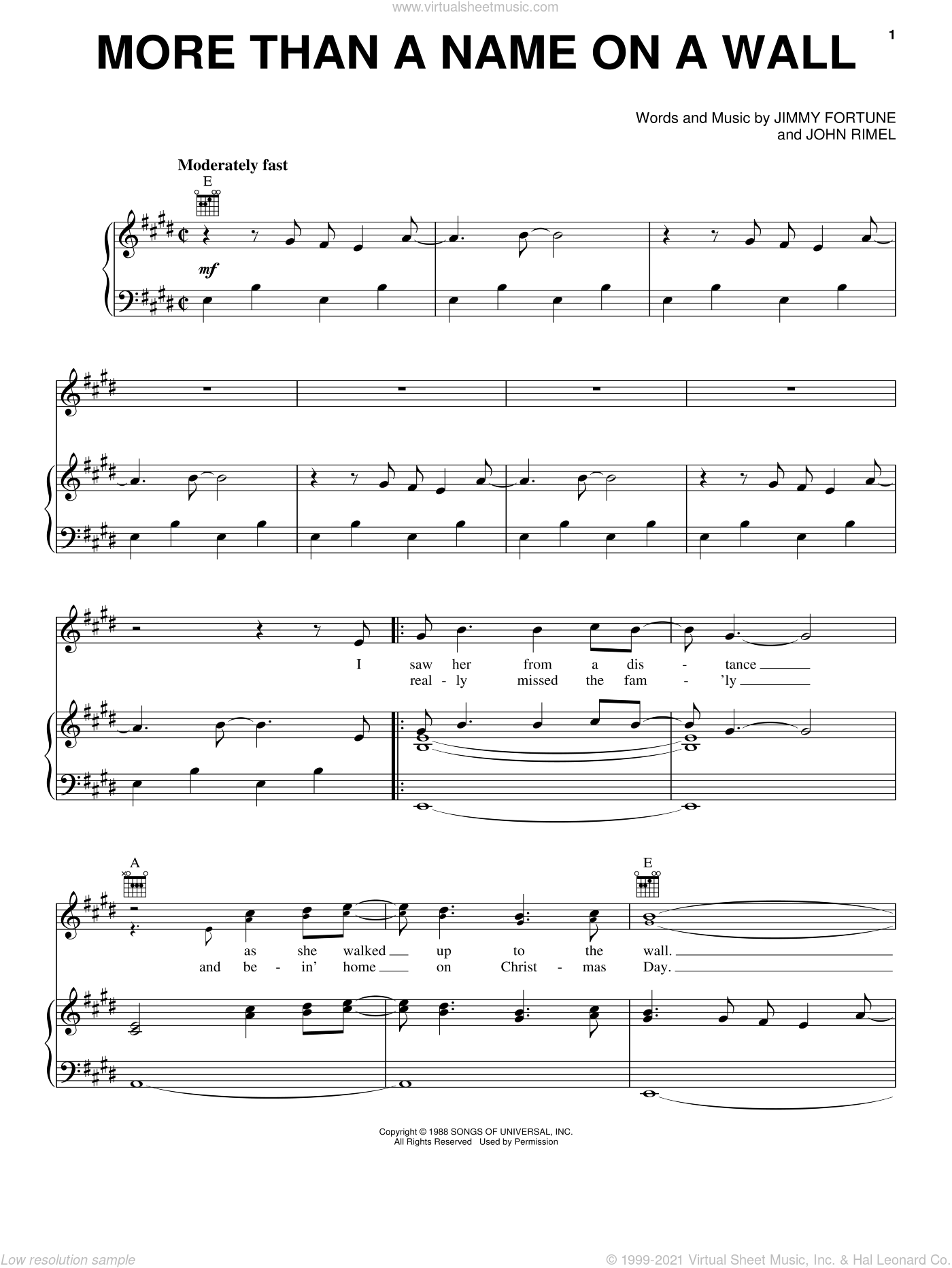 More Than A Name On A Wall sheet music for voice, piano or guitar by John Rimel