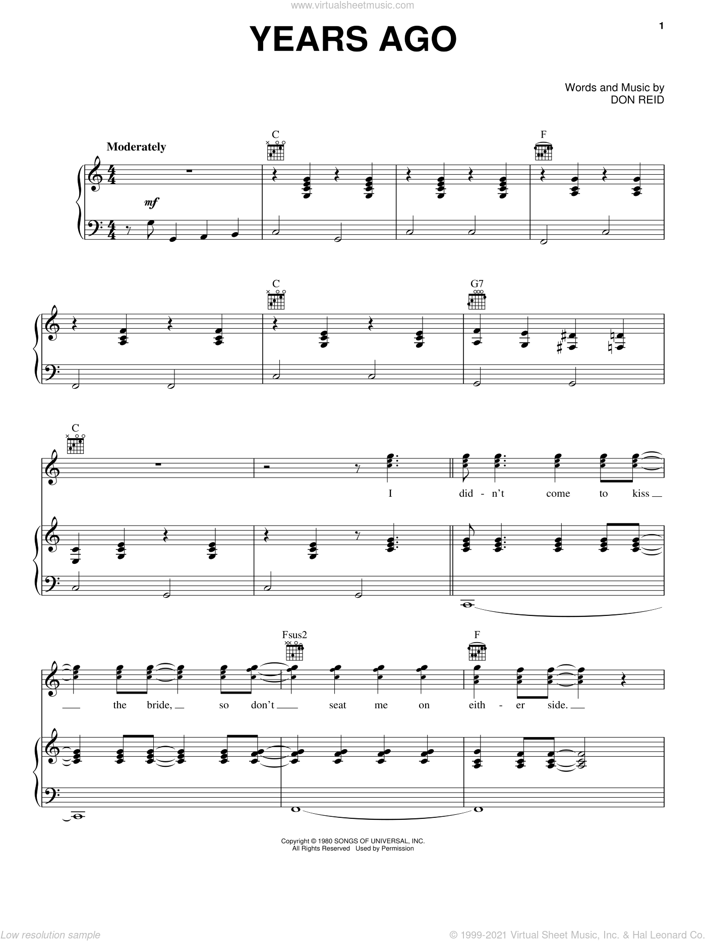 Years Ago sheet music for voice, piano or guitar by Dailey & Vincent and The Statler Brothers, intermediate. Score Image Preview.