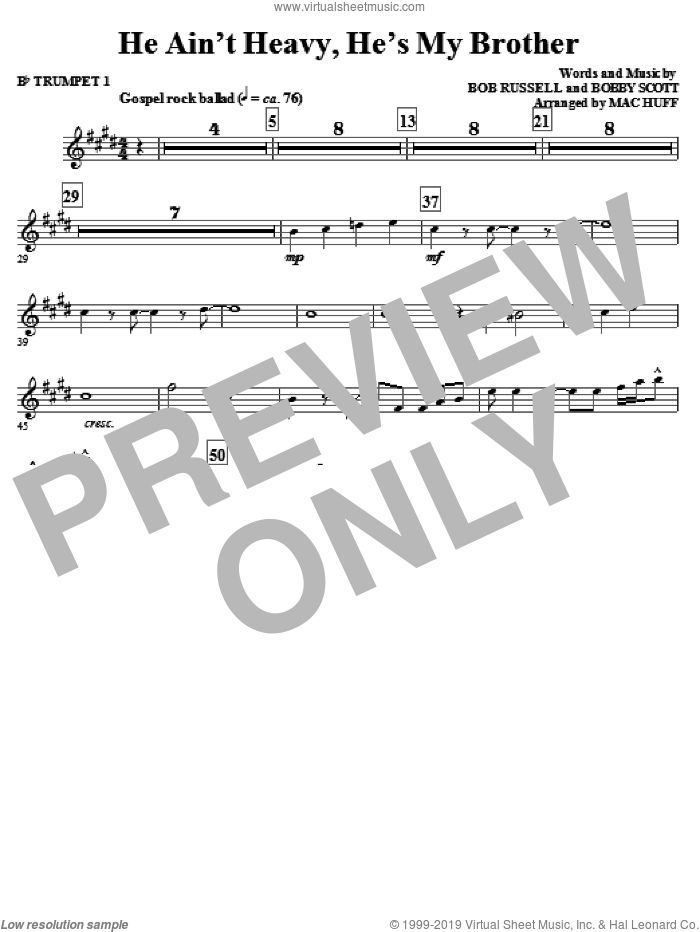 He Ain't Heavy, He's My Brother (COMPLETE) sheet music for orchestra by Bob Russell, Bobby Scott, Mac Huff and The Hollies. Score Image Preview.