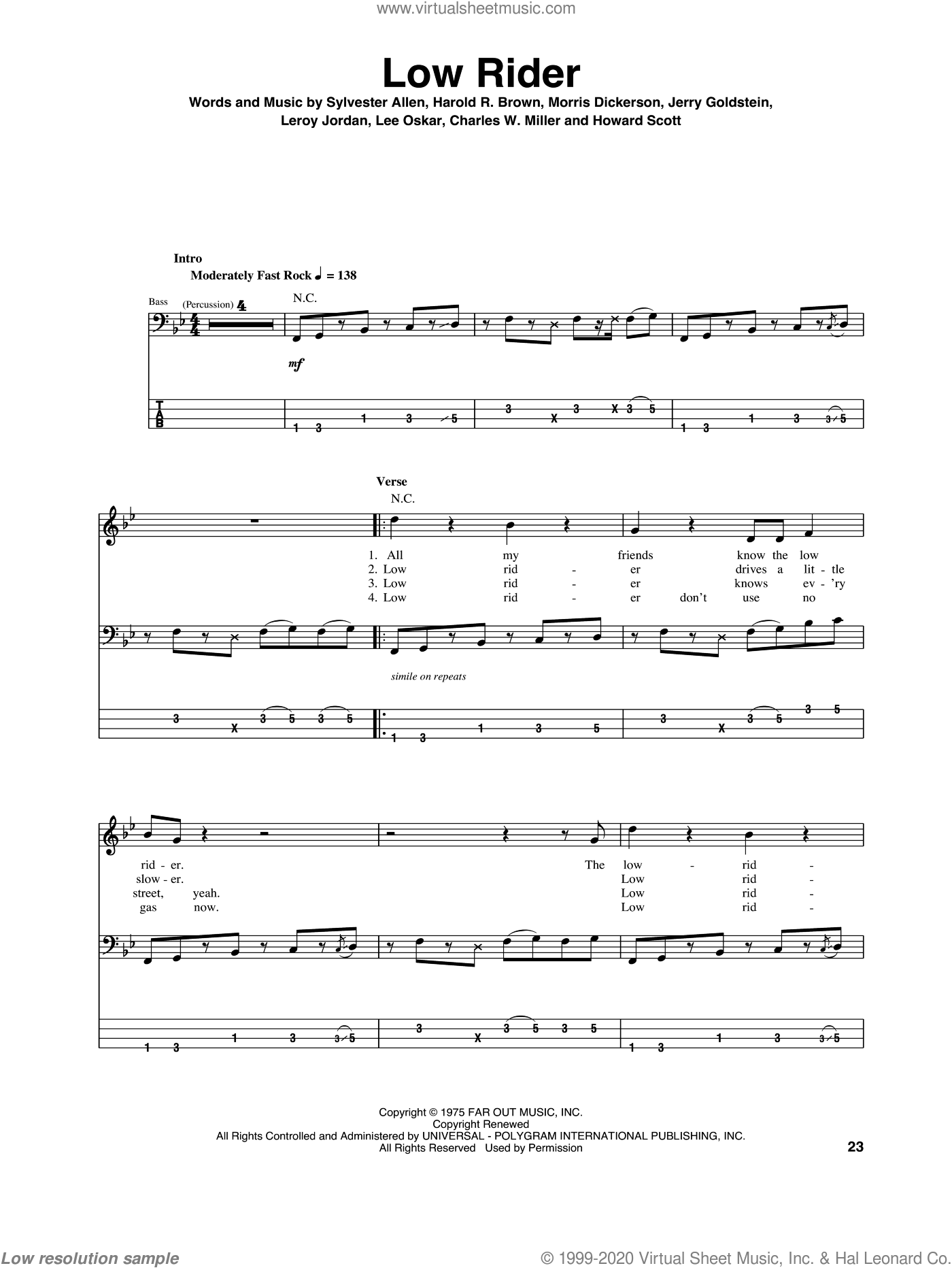 Low Rider sheet music for bass (tablature) (bass guitar) by War, intermediate. Score Image Preview.