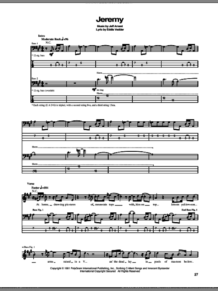 Jeremy sheet music for bass (tablature) (bass guitar) by Pearl Jam and Eddie Vedder, intermediate