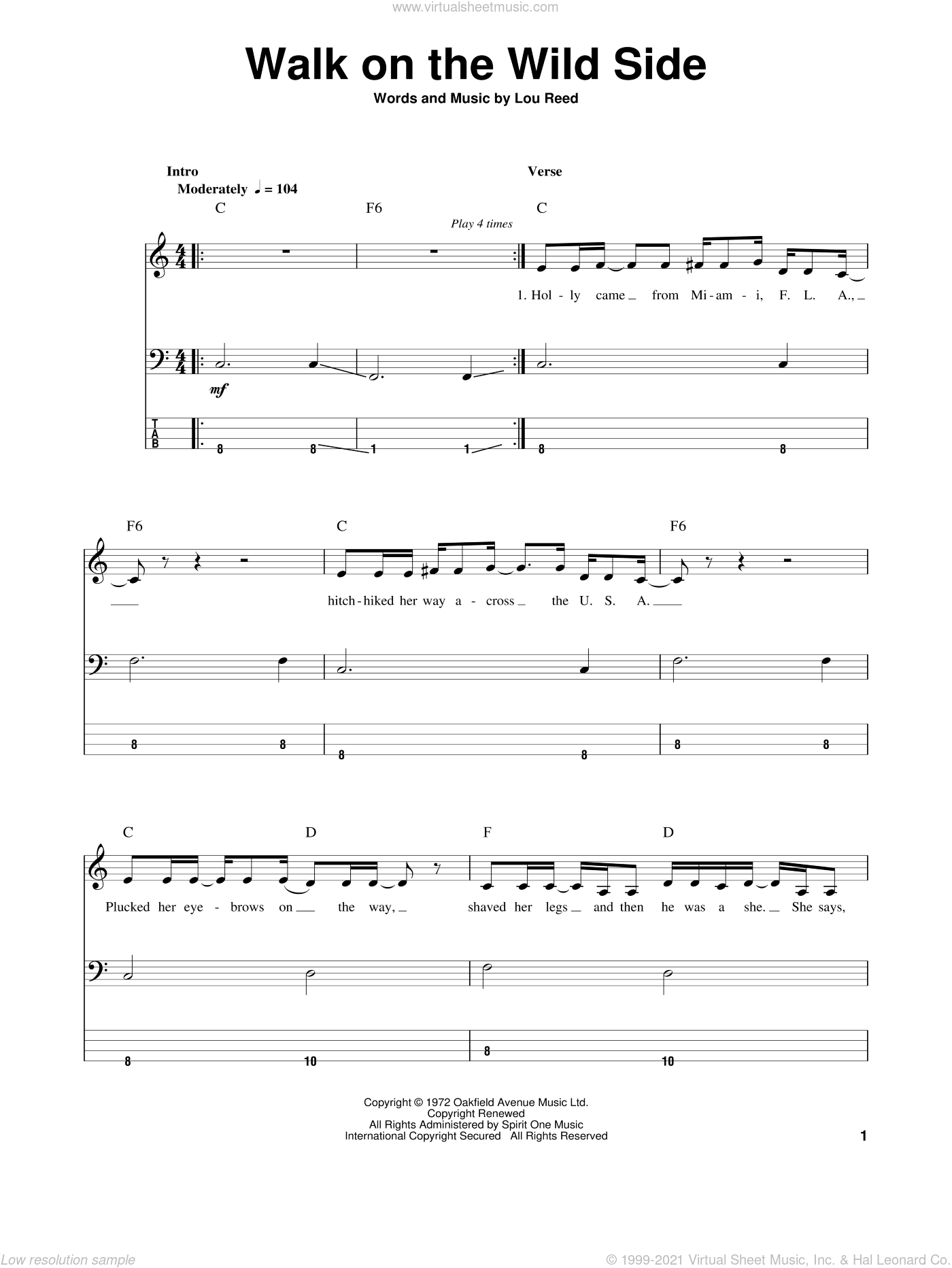 Walk On The Wild Side sheet music for bass (tablature) (bass guitar) by Lou Reed, intermediate. Score Image Preview.