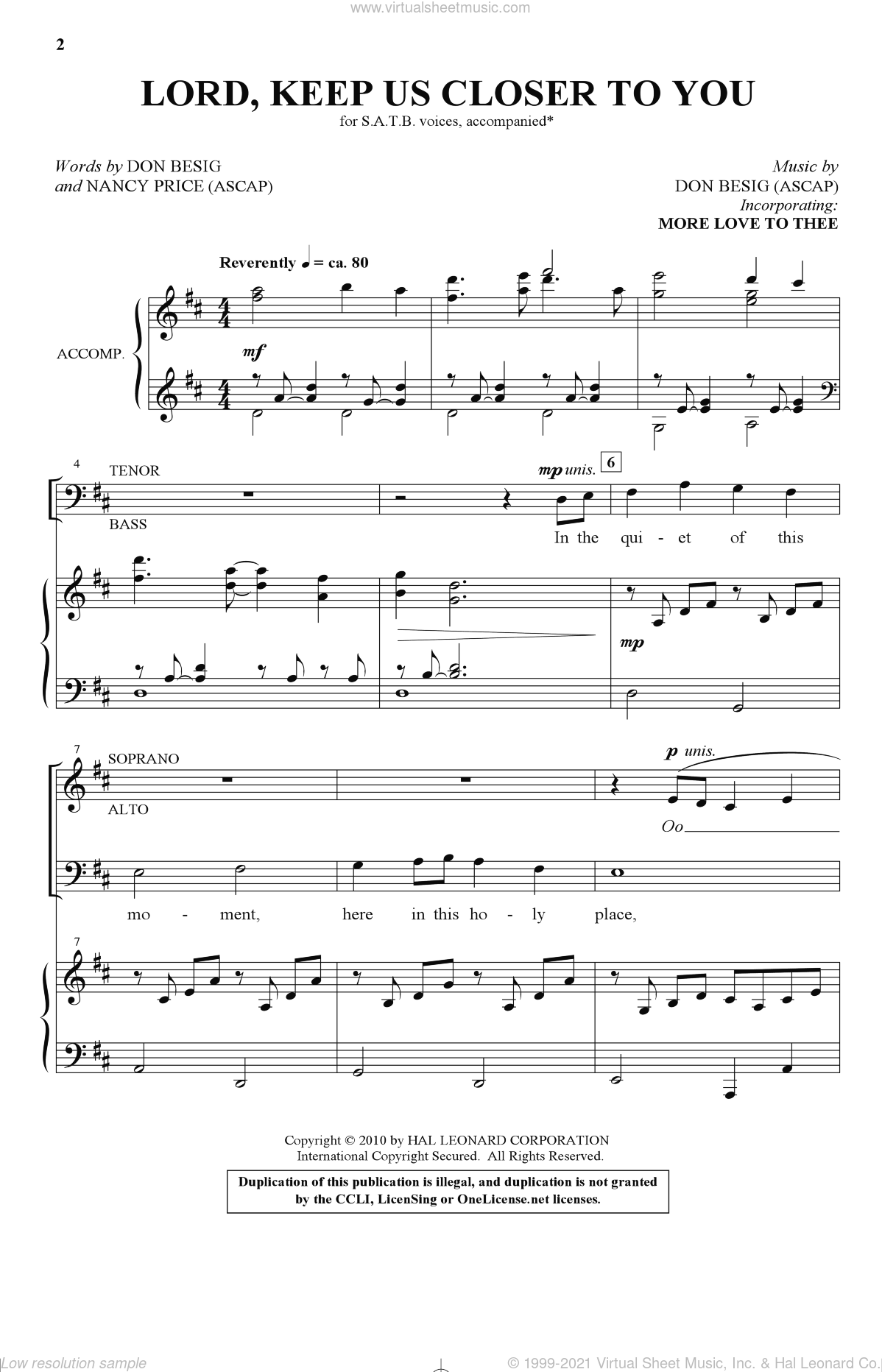 Lord, Keep Us Closer To You sheet music for choir and piano (SATB) by Nancy Price and Don Besig. Score Image Preview.