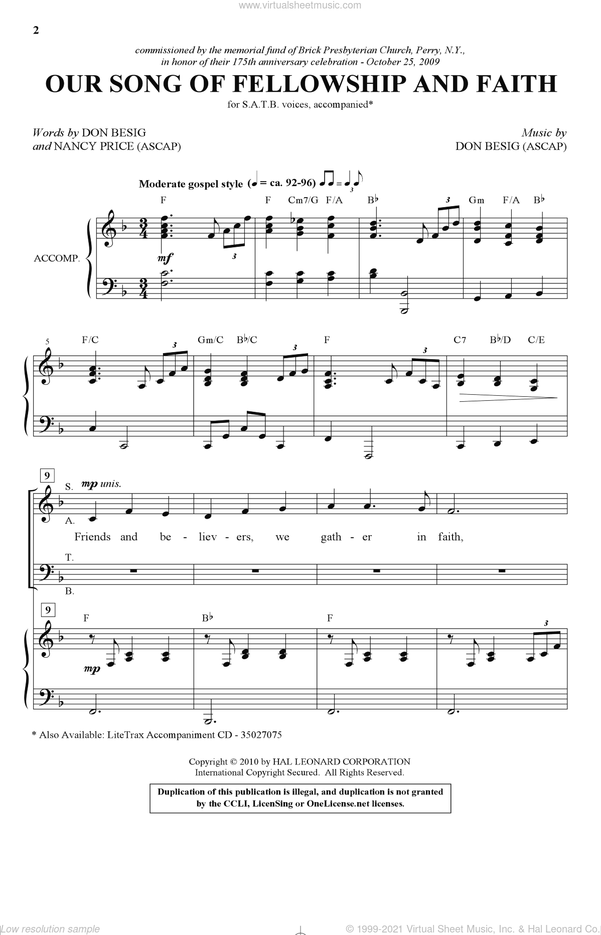 Our Song Of Fellowship And Faith sheet music for choir and piano (SATB) by Nancy Price