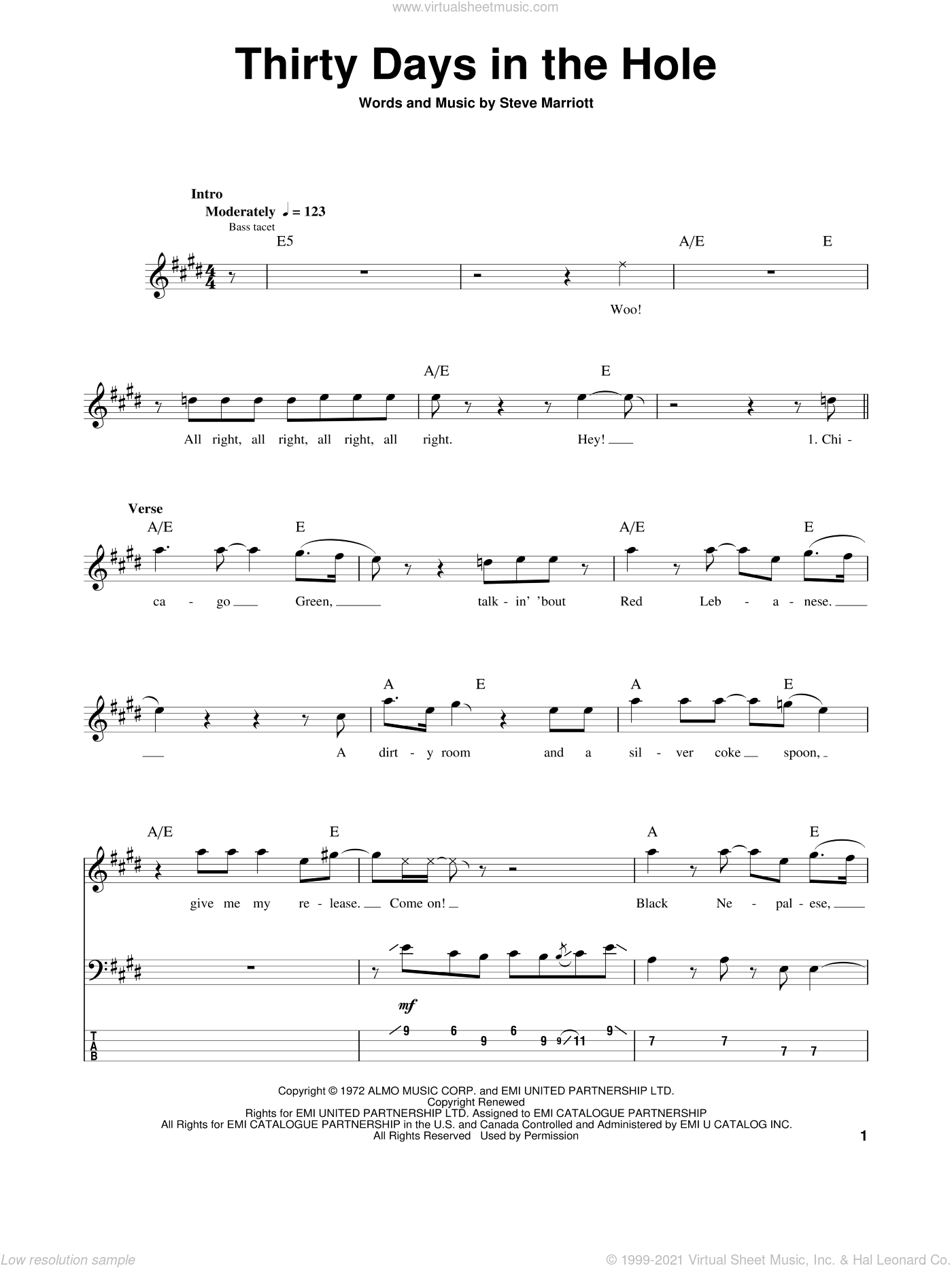 Thirty Days In The Hole sheet music for bass (tablature) (bass guitar) by Steve Marriott and Humble Pie. Score Image Preview.