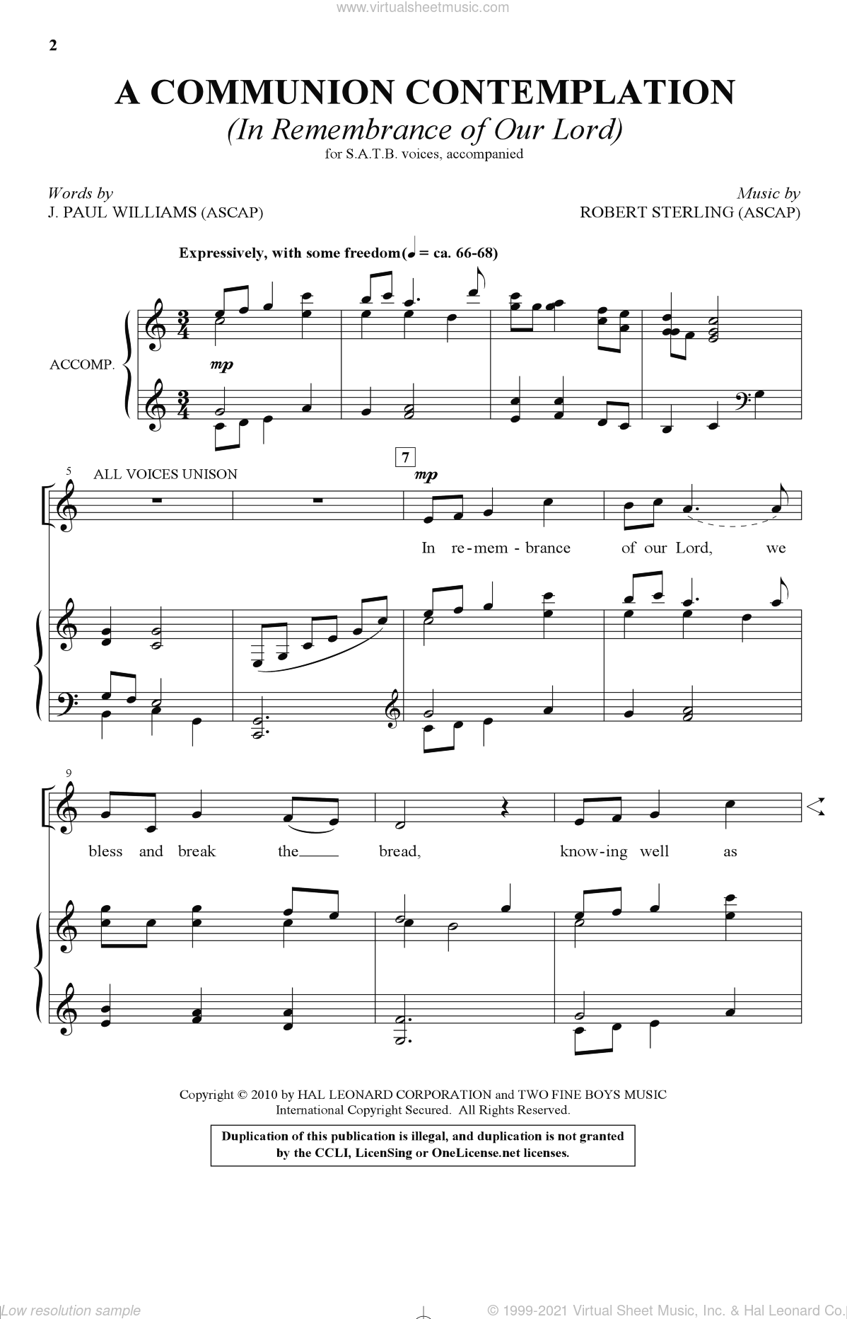 A Communion Contemplation (In Remembrance Of Our Lord) sheet music for choir and piano (SATB) by Robert Sterling and J. Paul Williams. Score Image Preview.