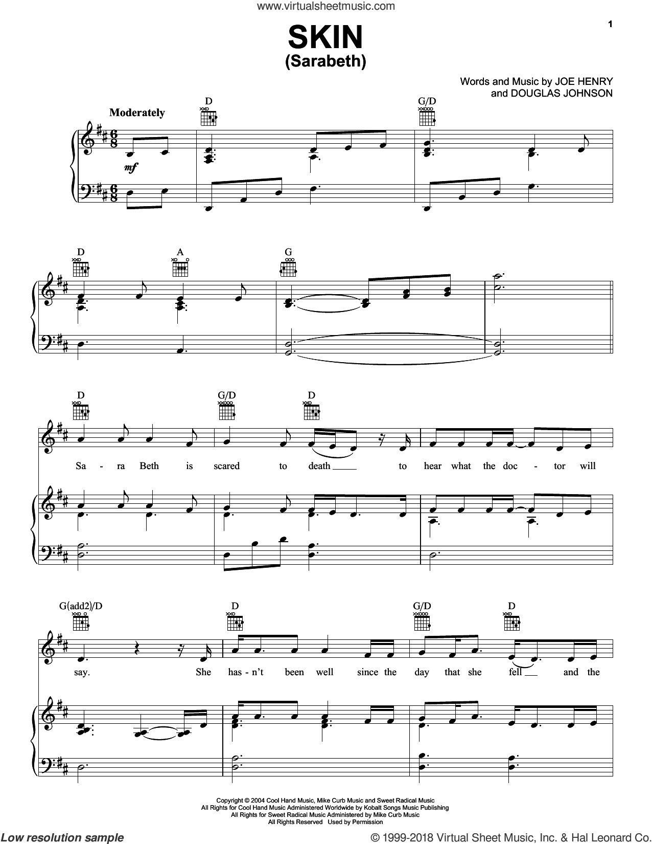 Skin (Sarabeth) sheet music for voice, piano or guitar by Joe Henry and Rascal Flatts. Score Image Preview.