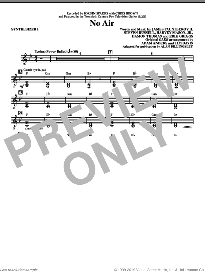 No Air (from Glee) (adapt. Alan Billingsley) (complete set of parts) sheet music for orchestra/band (Rhythm) by Alan Billingsley, Damon Thomas, Erik Griggs, Harvey Mason, Jr., James Fauntleroy, Steven Russell, Adam Anders, Chris Brown, Glee Cast, Jordin Sparks, Miscellaneous and Tim Davis, intermediate skill level