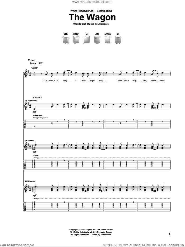 The Wagon sheet music for guitar (tablature) by Joseph Mascis. Score Image Preview.