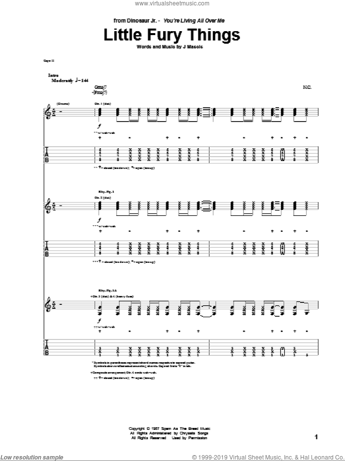 Little Fury Things sheet music for guitar (tablature) by Dinosaur Jr. and Joseph Mascis, intermediate