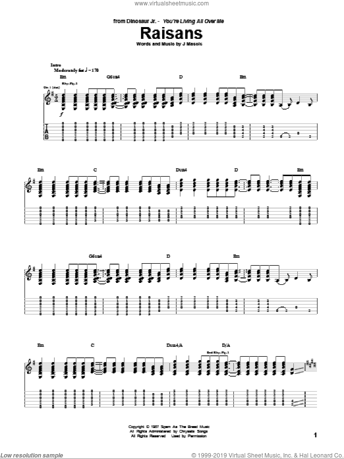 Raisans sheet music for guitar (tablature) by Dinosaur Jr.. Score Image Preview.