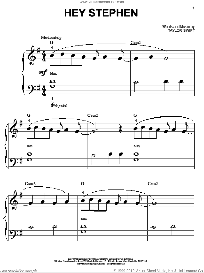 Hey Stephen sheet music for piano solo (big note book) by Taylor Swift. Score Image Preview.