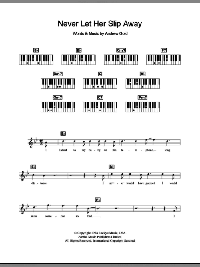 Never Let Her Slip Away sheet music for piano solo (chords, lyrics, melody) by Andrew Gold, intermediate piano (chords, lyrics, melody)