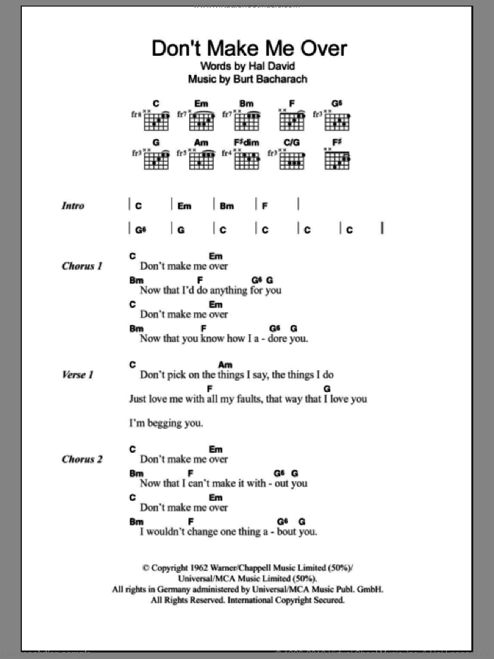 Don't Make Me Over sheet music for guitar (chords) by Dionne Warwick, Burt Bacharach and Hal David, intermediate. Score Image Preview.