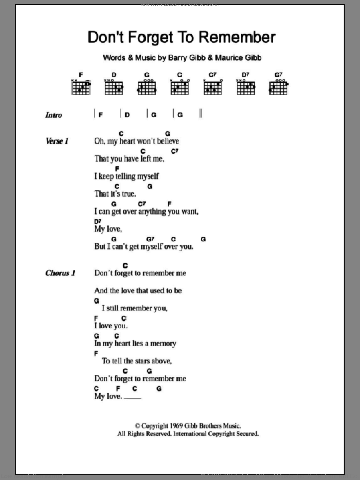 Don't Forget To Remember sheet music for guitar (chords) by Maurice Gibb, Bee Gees and Barry Gibb. Score Image Preview.
