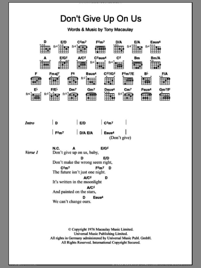 Don't Give Up On Us sheet music for guitar (chords) by Tony Macaulay. Score Image Preview.