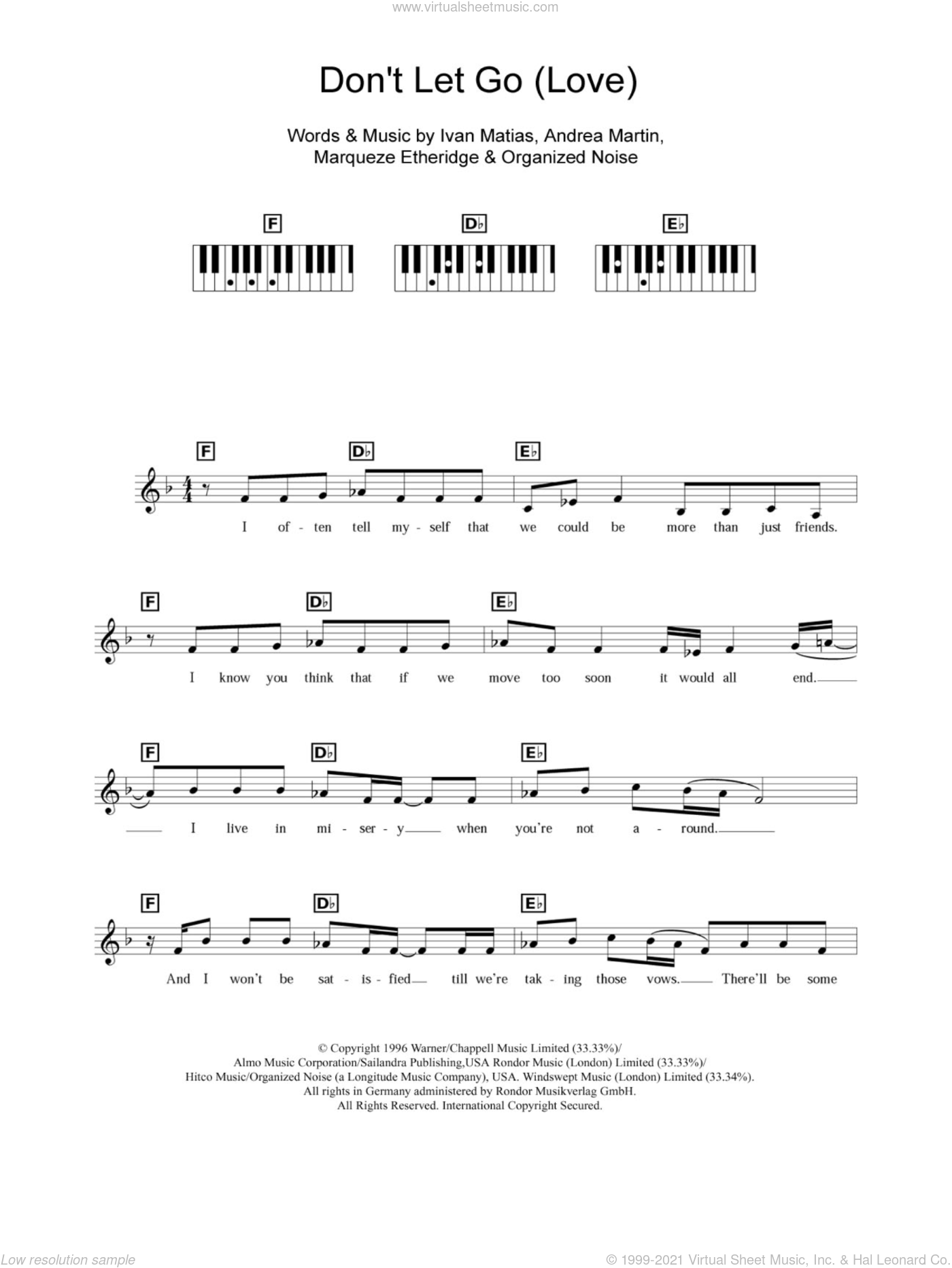 Don't Let Go (Love) sheet music for piano solo (chords, lyrics, melody) by Organized Noise, Andrea Martin and Marqueze Etheridge