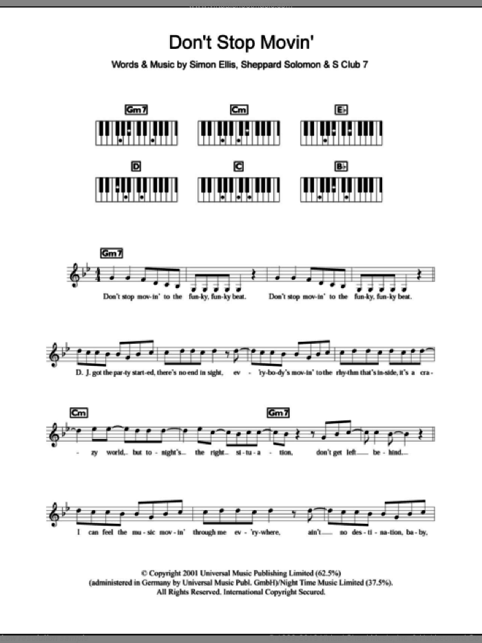 Don't Stop Movin' sheet music for piano solo (chords, lyrics, melody) by Simon Ellis, S Club 7 and Sheppard Solomon. Score Image Preview.
