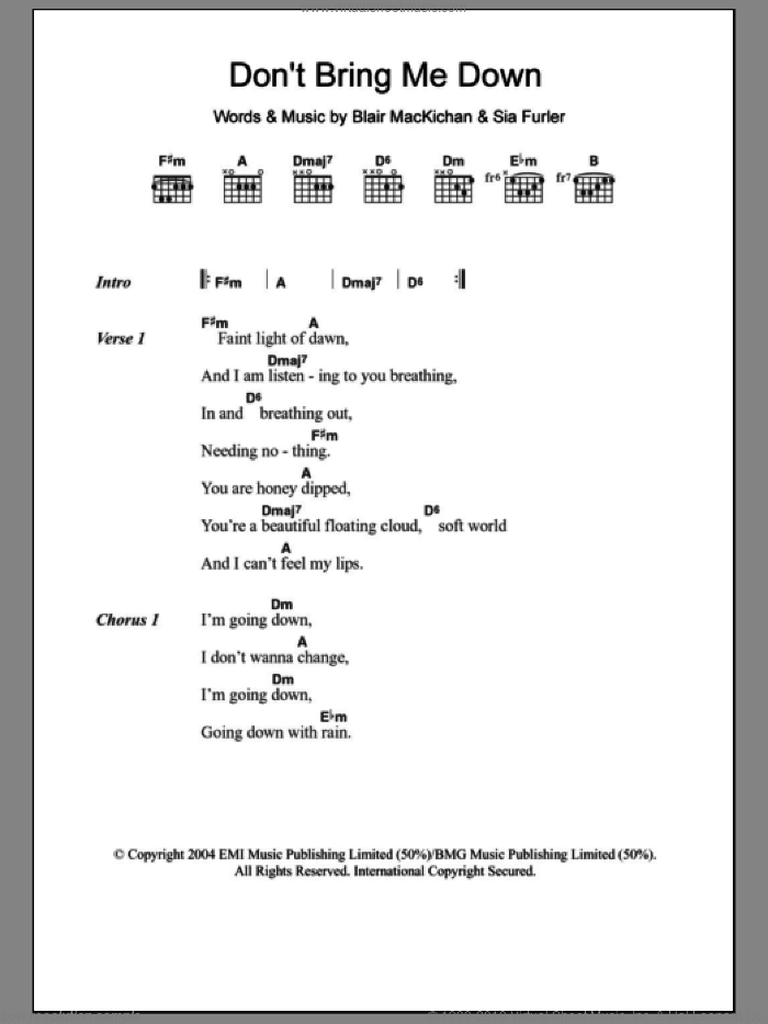 Don't Bring Me Down sheet music for guitar (chords) by Sia and Blair MacKichan, intermediate