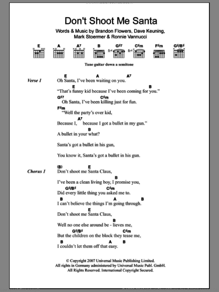 Don't Shoot Me Santa sheet music for guitar (chords) by The Killers, Brandon Flowers, Dave Keuning, Mark Stoermer and Ronnie Vannucci, intermediate